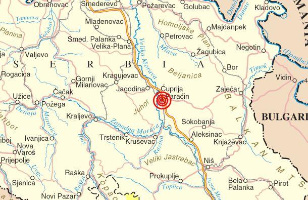 mapa paracina Vesti Paracin   Zemljotres kod Paraćina mapa paracina